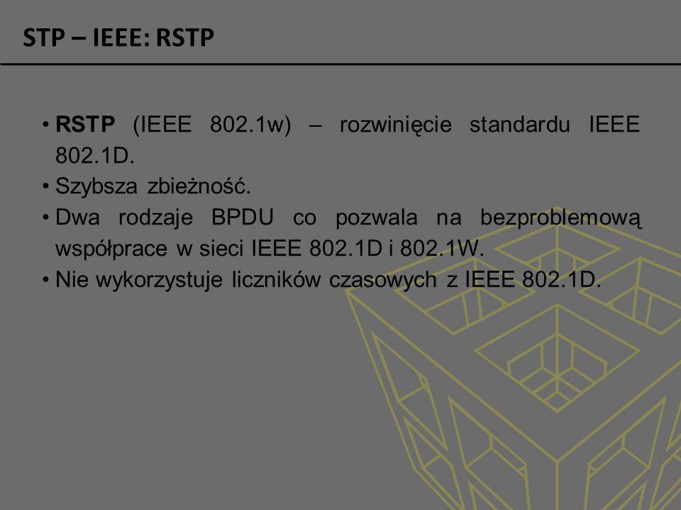 STP – IEEE: RSTP RSTP (IEEE 802.1w) – rozwinięcie standardu IEEE 802.1D. Szybsza zbieżność.