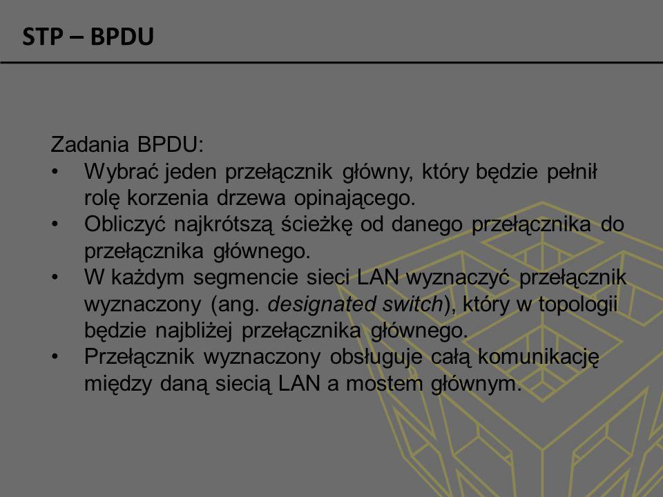 STP – BPDU Zadania BPDU: