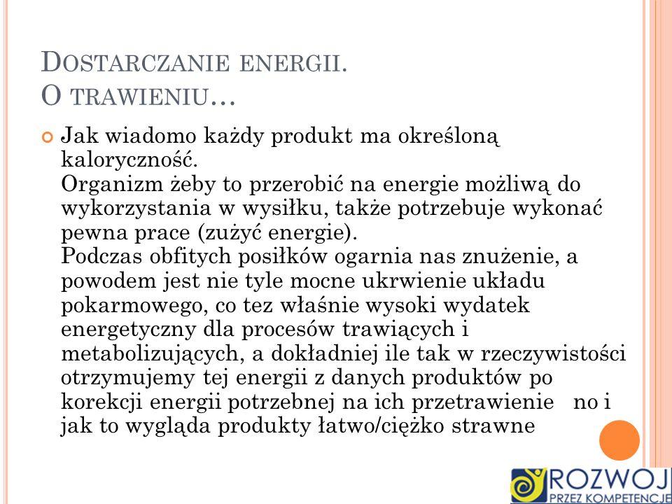 Dostarczanie energii. O trawieniu…