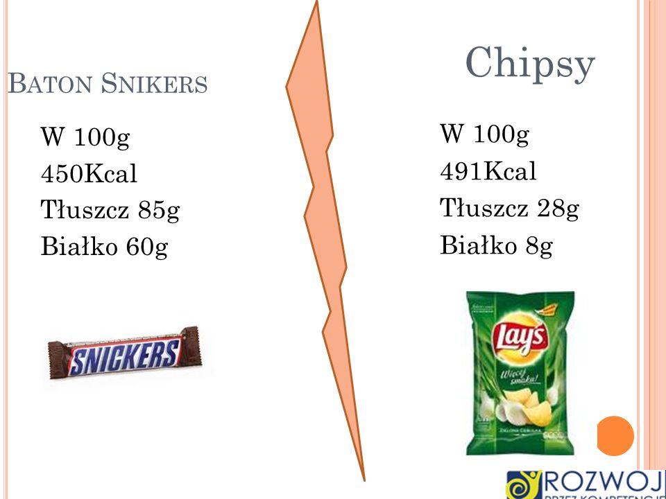 Chipsy Baton Snikers W 100g W 100g 491Kcal 450Kcal Tłuszcz 28g