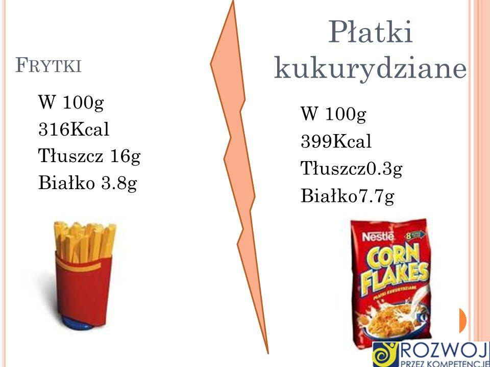 Płatki kukurydziane Frytki W 100g 316Kcal W 100g 399Kcal Tłuszcz 16g