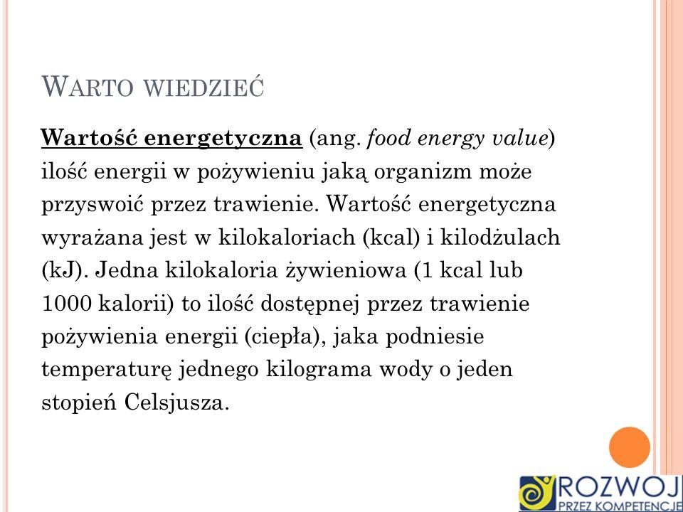 Warto wiedzieć Wartość energetyczna (ang. food energy value)