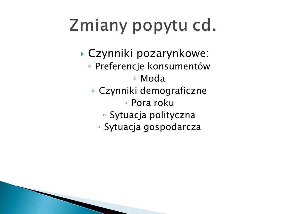 Zmiany popytu cd. Czynniki pozarynkowe: Preferencje konsumentów Moda
