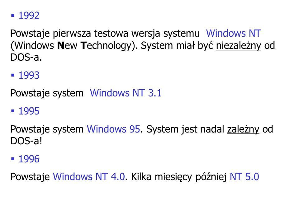 1992 Powstaje pierwsza testowa wersja systemu Windows NT (Windows New Technology). System miał być niezależny od DOS-a.