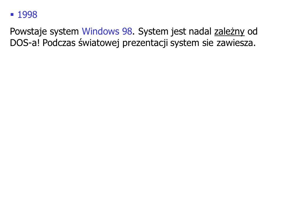 1998 Powstaje system Windows 98. System jest nadal zależny od DOS-a.