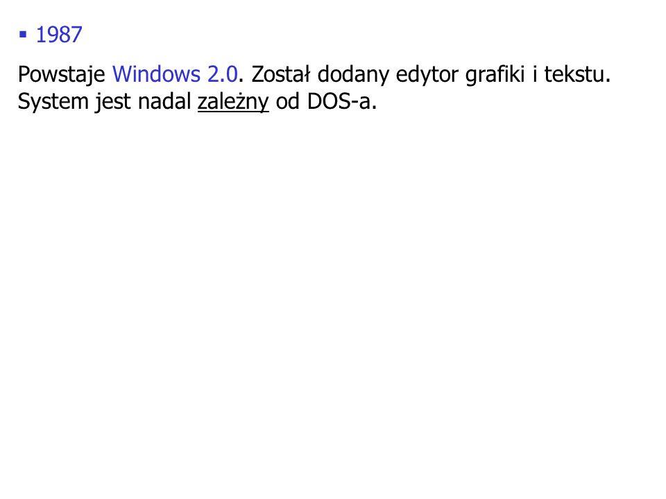1987 Powstaje Windows 2.0. Został dodany edytor grafiki i tekstu.