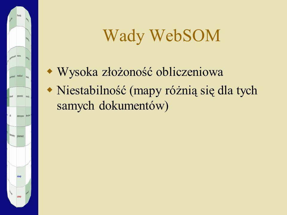 Wady WebSOM Wysoka złożoność obliczeniowa