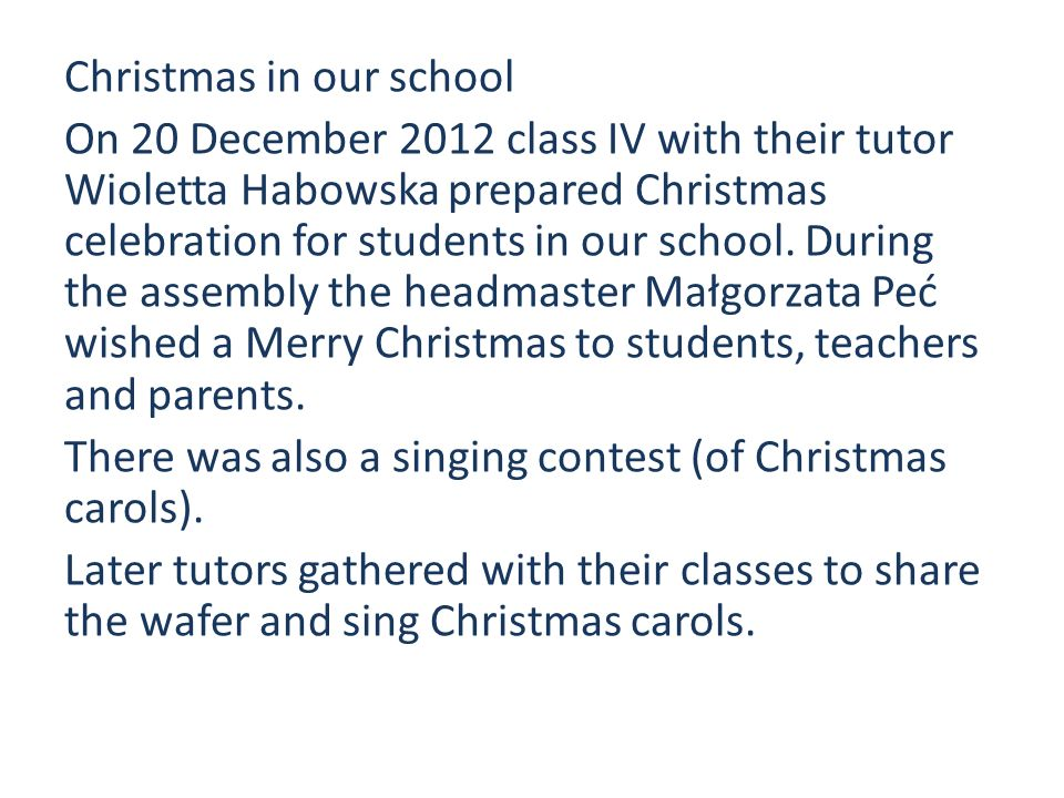 Christmas in our school