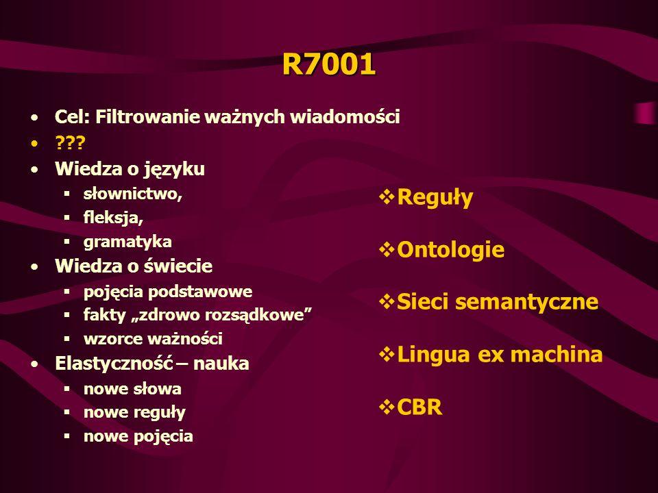 R7001 Reguły Ontologie Sieci semantyczne Lingua ex machina CBR