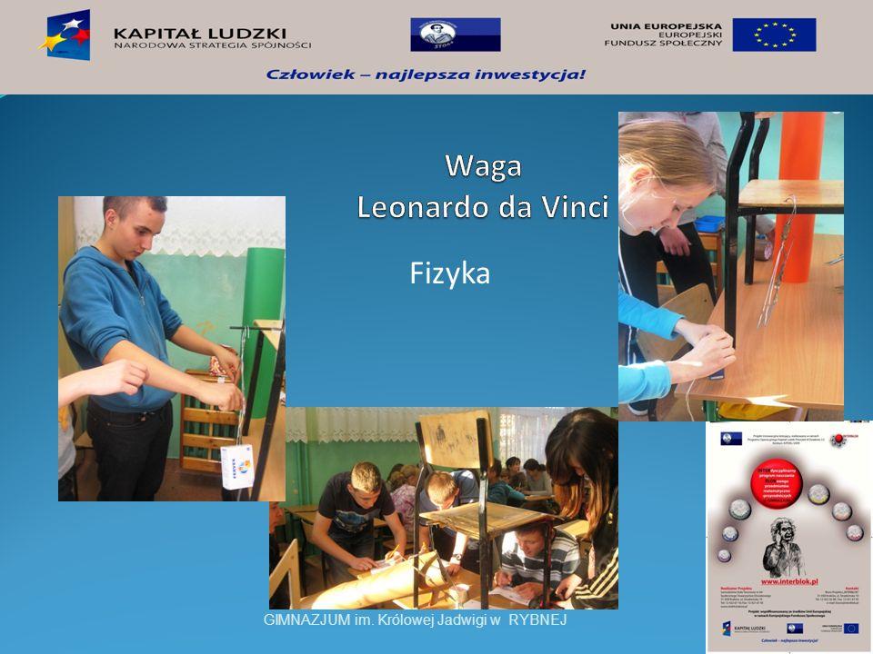 Waga Leonardo da Vinci Fizyka GIMNAZJUM im. Królowej Jadwigi w RYBNEJ