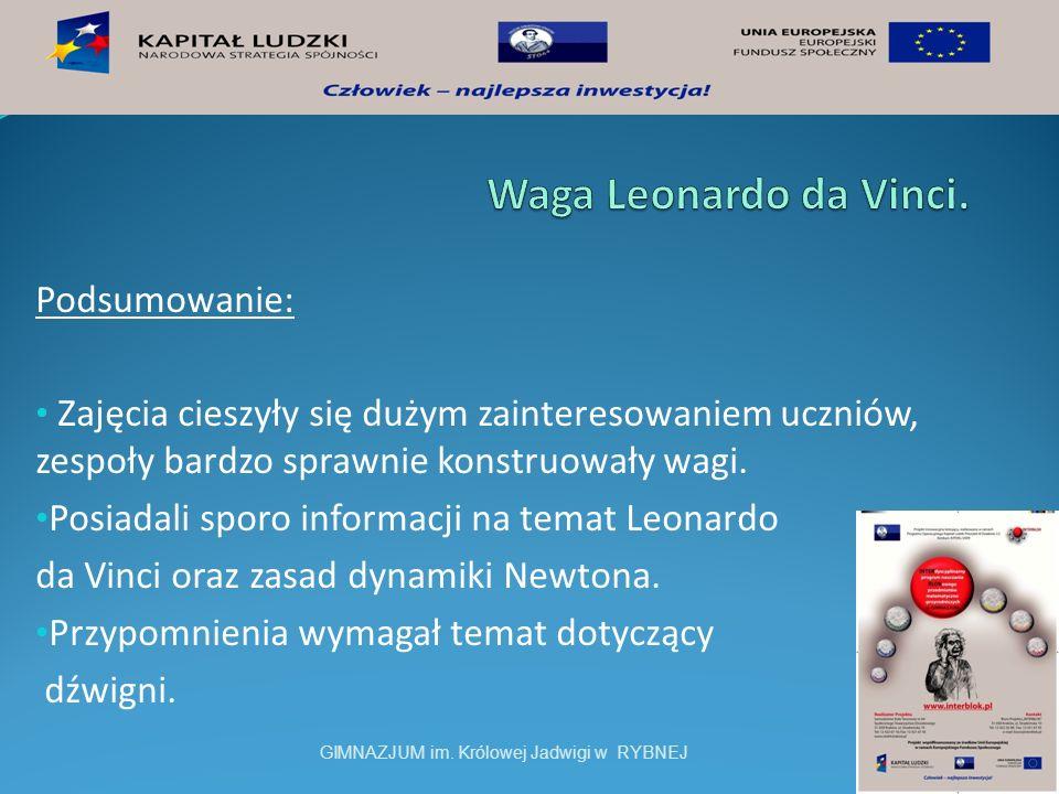 Waga Leonardo da Vinci. Podsumowanie: