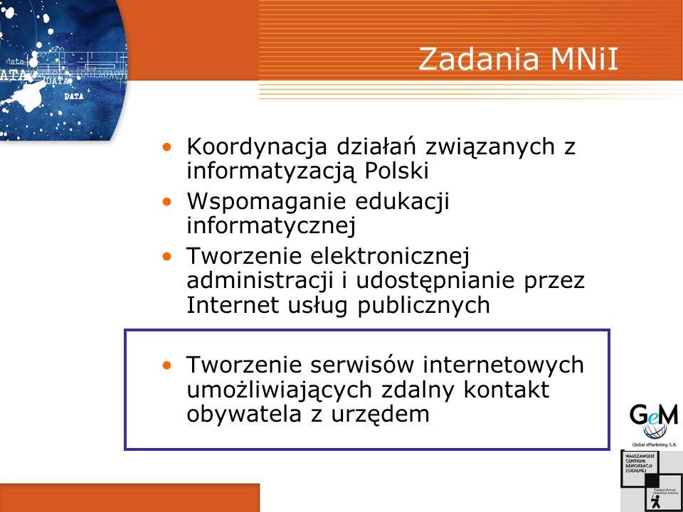 Zadania MNiI Koordynacja działań związanych z informatyzacją Polski
