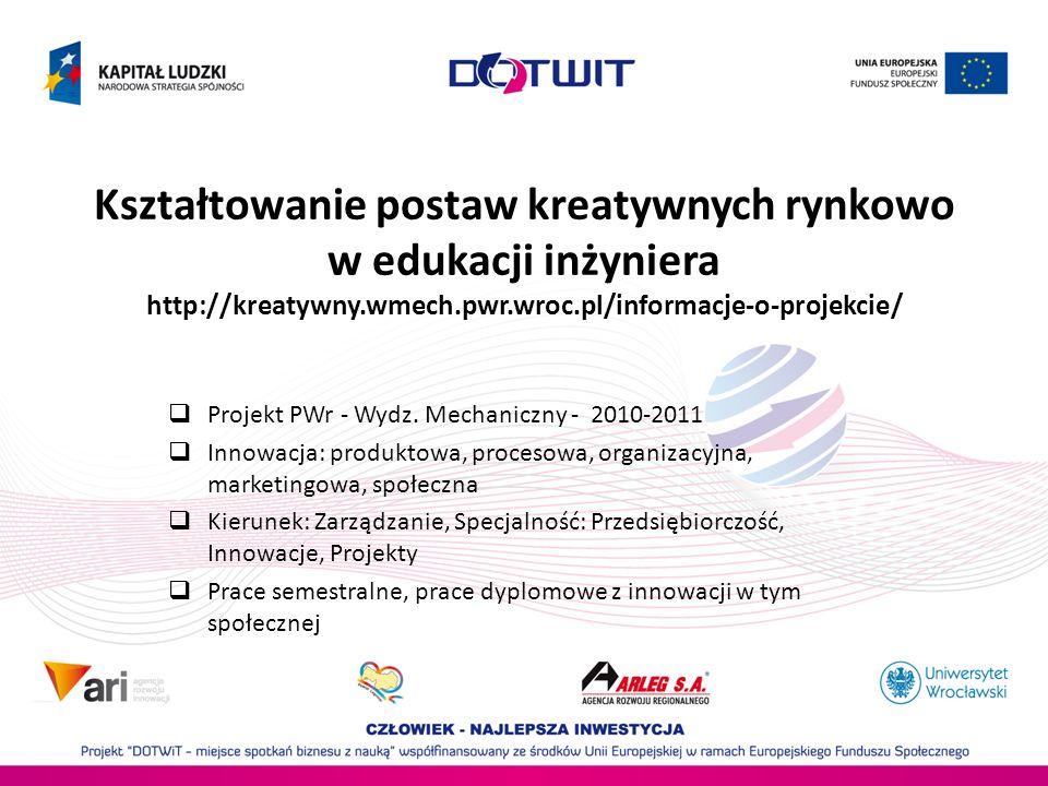 Kształtowanie postaw kreatywnych rynkowo w edukacji inżyniera http://kreatywny.wmech.pwr.wroc.pl/informacje-o-projekcie/