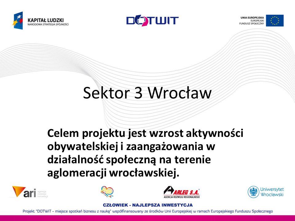 Sektor 3 WrocławCelem projektu jest wzrost aktywności obywatelskiej i zaangażowania w działalność społeczną na terenie aglomeracji wrocławskiej.