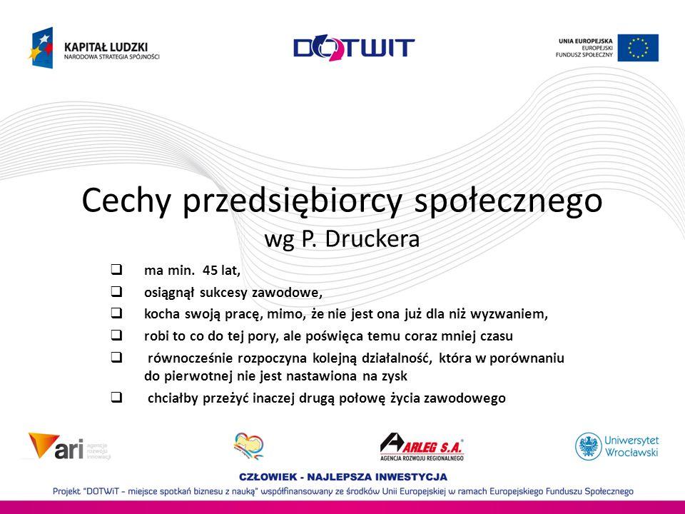 Cechy przedsiębiorcy społecznego wg P. Druckera