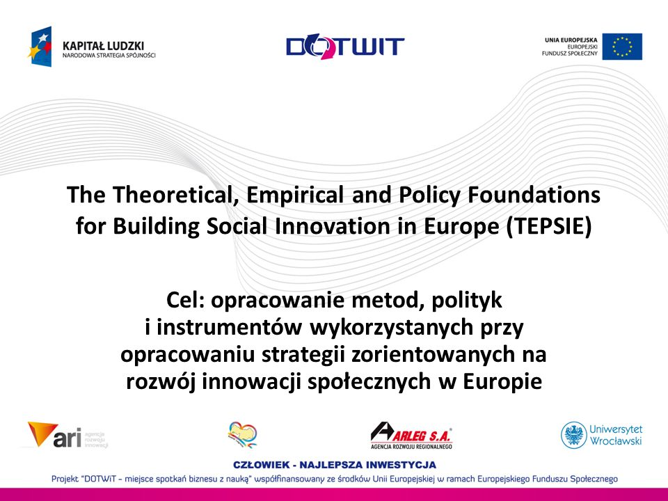 The Theoretical, Empirical and Policy Foundations for Building Social Innovation in Europe (TEPSIE)