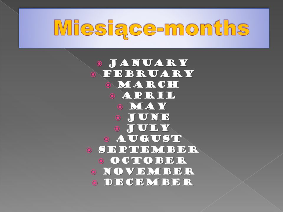 Miesiące-months January February March April May June JULY August