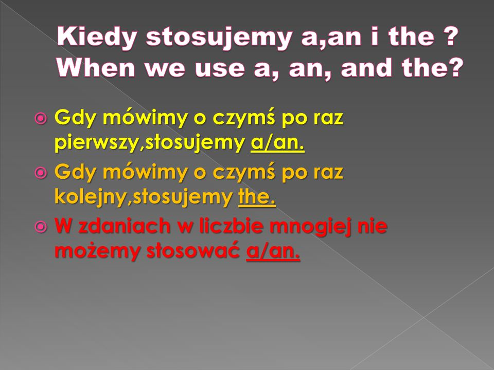 Kiedy stosujemy a,an i the When we use a, an, and the
