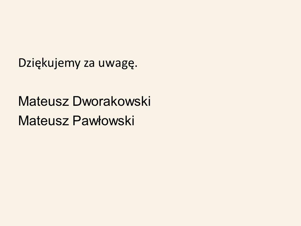 Dziękujemy za uwagę. Mateusz Dworakowski Mateusz Pawłowski