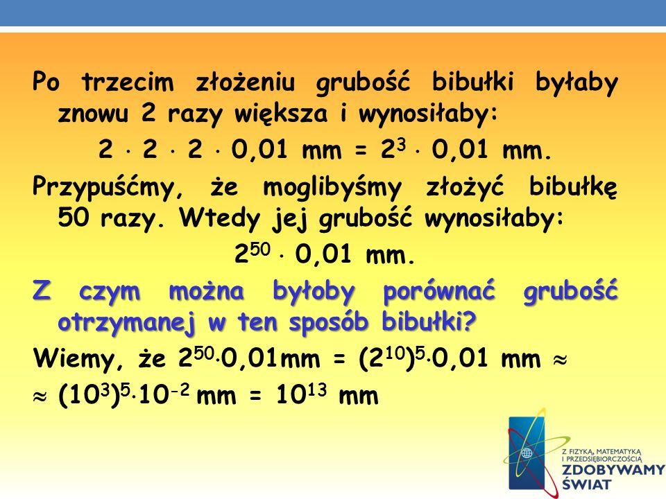 Po trzecim złożeniu grubość bibułki byłaby znowu 2 razy większa i wynosiłaby: 2  2  2  0,01 mm = 23  0,01 mm.