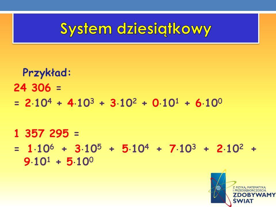 System dziesiątkowy Przykład: 24 306 = = 2104 + 4103 + 3102 + 0101 + 6100 1 357 295 = = 1106 + 3105 + 5104 + 7103 + 2102 + 9101 + 5100