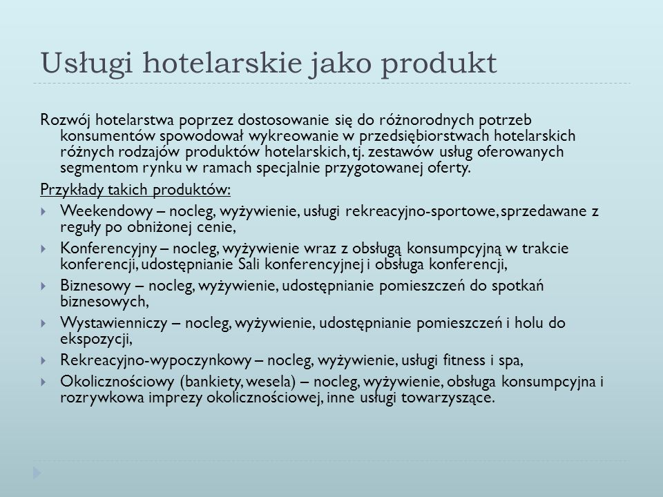 Usługi hotelarskie jako produkt