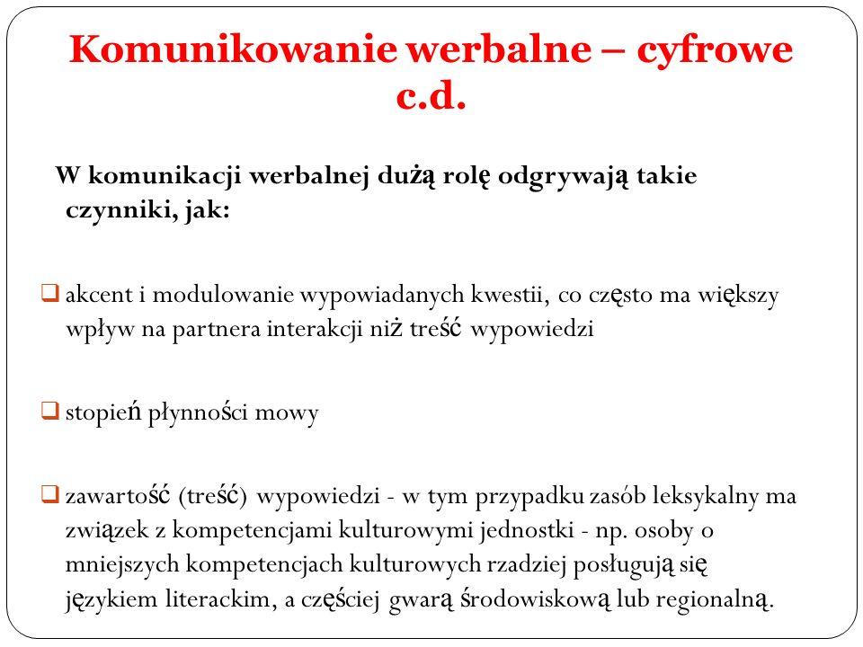 Komunikowanie werbalne – cyfrowe c.d.