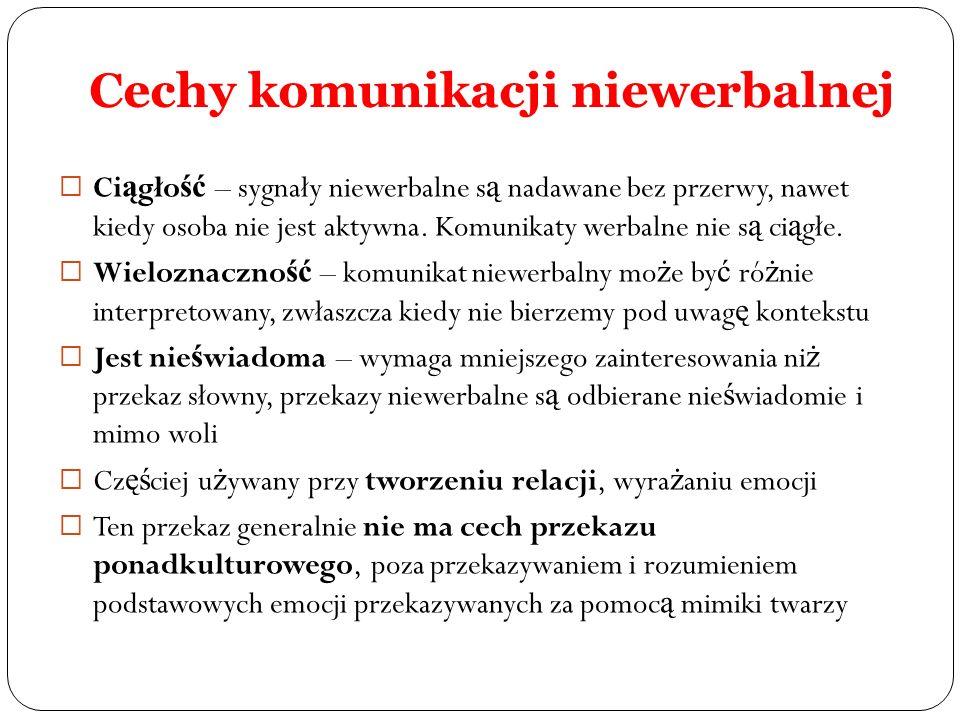 Cechy komunikacji niewerbalnej
