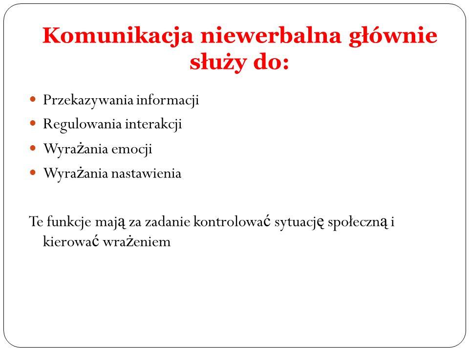 Komunikacja niewerbalna głównie służy do: