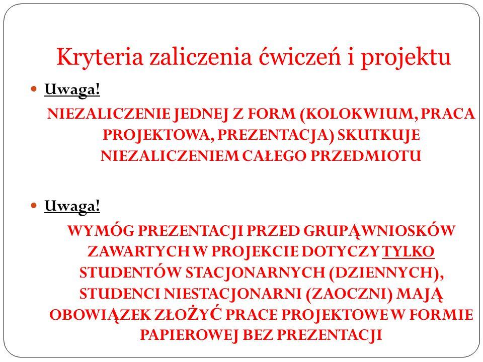 Kryteria zaliczenia ćwiczeń i projektu