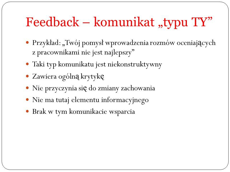 """Feedback – komunikat """"typu TY"""