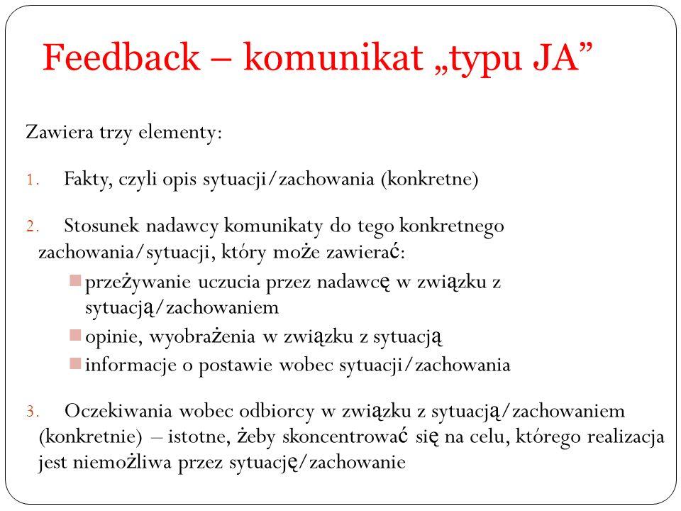"Feedback – komunikat ""typu JA"