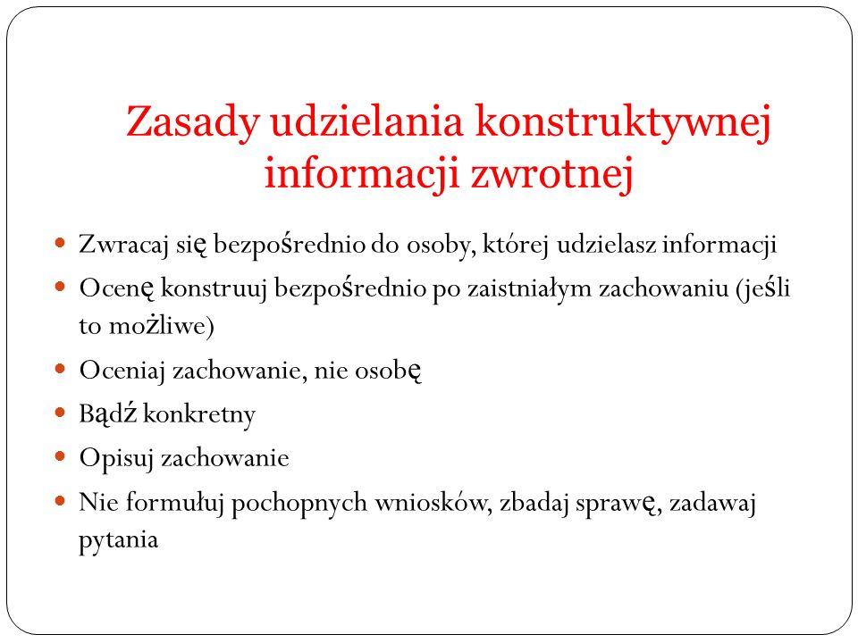 Zasady udzielania konstruktywnej informacji zwrotnej