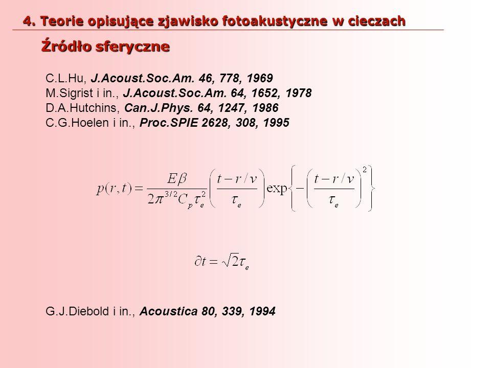 4. Teorie opisujące zjawisko fotoakustyczne w cieczach
