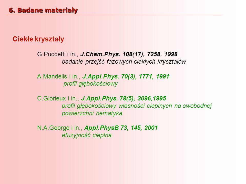 Ciekłe kryształy 6. Badane materiały