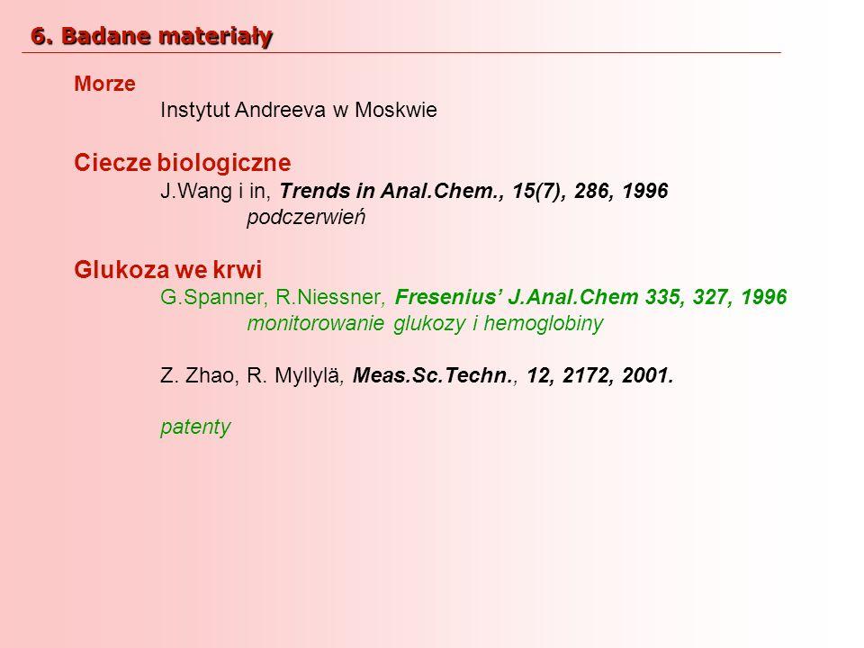 Ciecze biologiczne Glukoza we krwi 6. Badane materiały Morze