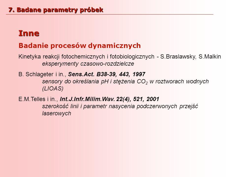 Inne Badanie procesów dynamicznych 7. Badane parametry próbek