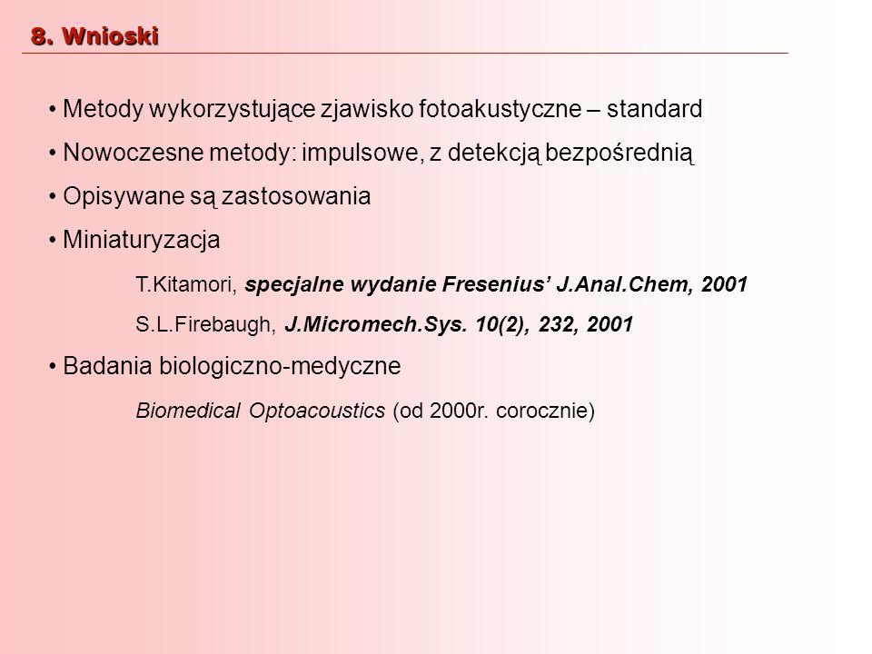 Metody wykorzystujące zjawisko fotoakustyczne – standard