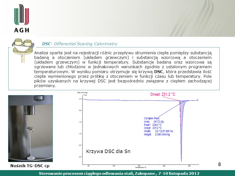 Krzywa DSC dla Sn DSC- Differential Scaning Calorimetry