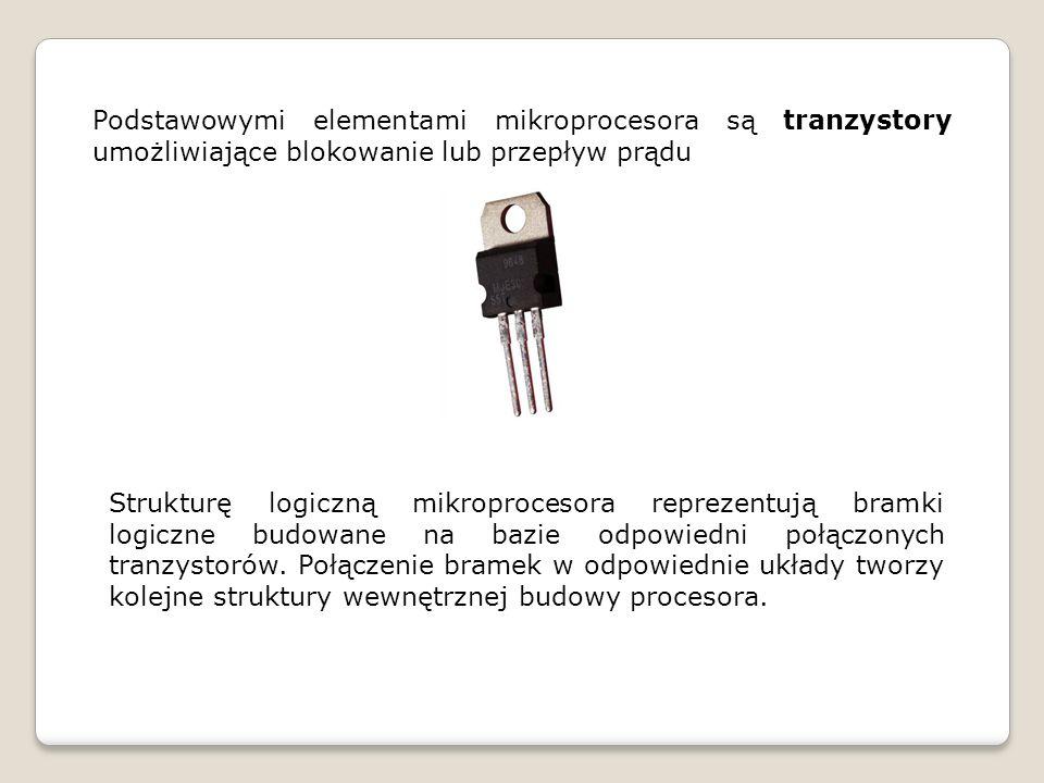 Podstawowymi elementami mikroprocesora są tranzystory umożliwiające blokowanie lub przepływ prądu