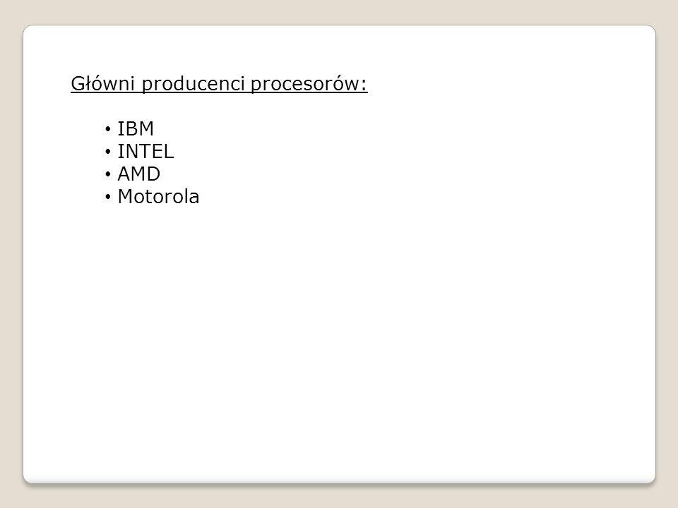 Główni producenci procesorów: