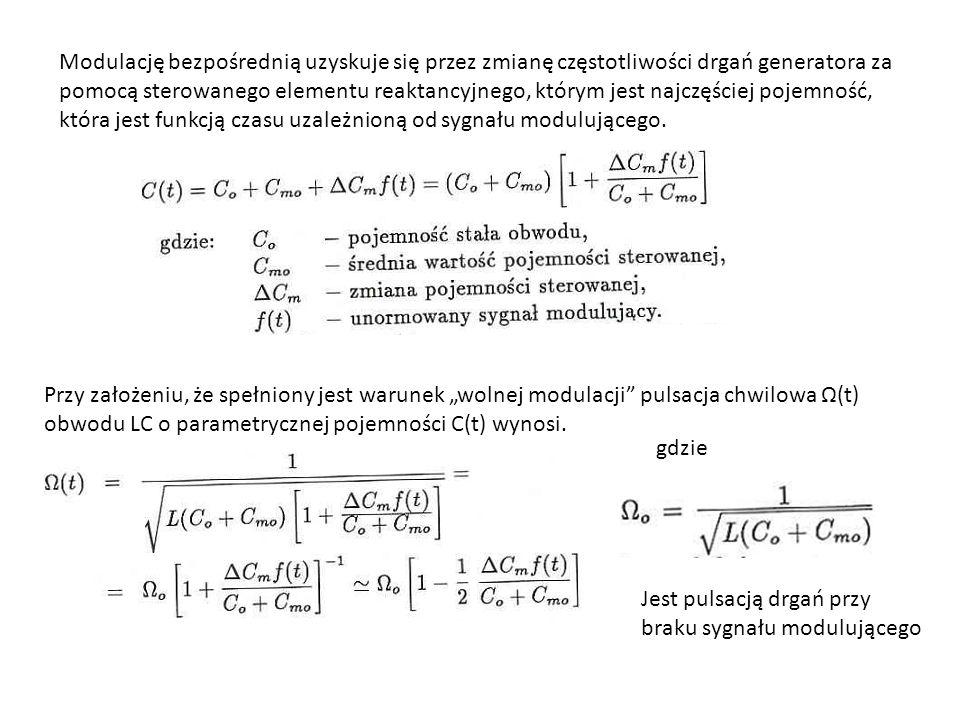 Modulację bezpośrednią uzyskuje się przez zmianę częstotliwości drgań generatora za pomocą sterowanego elementu reaktancyjnego, którym jest najczęściej pojemność, która jest funkcją czasu uzależnioną od sygnału modulującego.