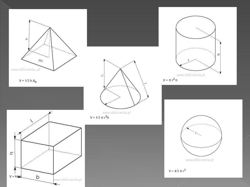 V = 1/3 h Ab V = π r2 h V = 1/3 π r2h V = 4/3 π r3 V = l b h