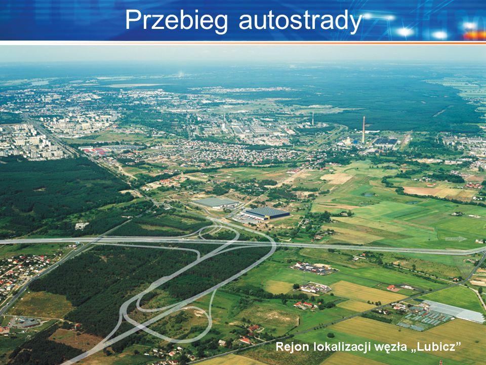 """Przebieg autostrady Localisation of the interchange """"Lubicz"""