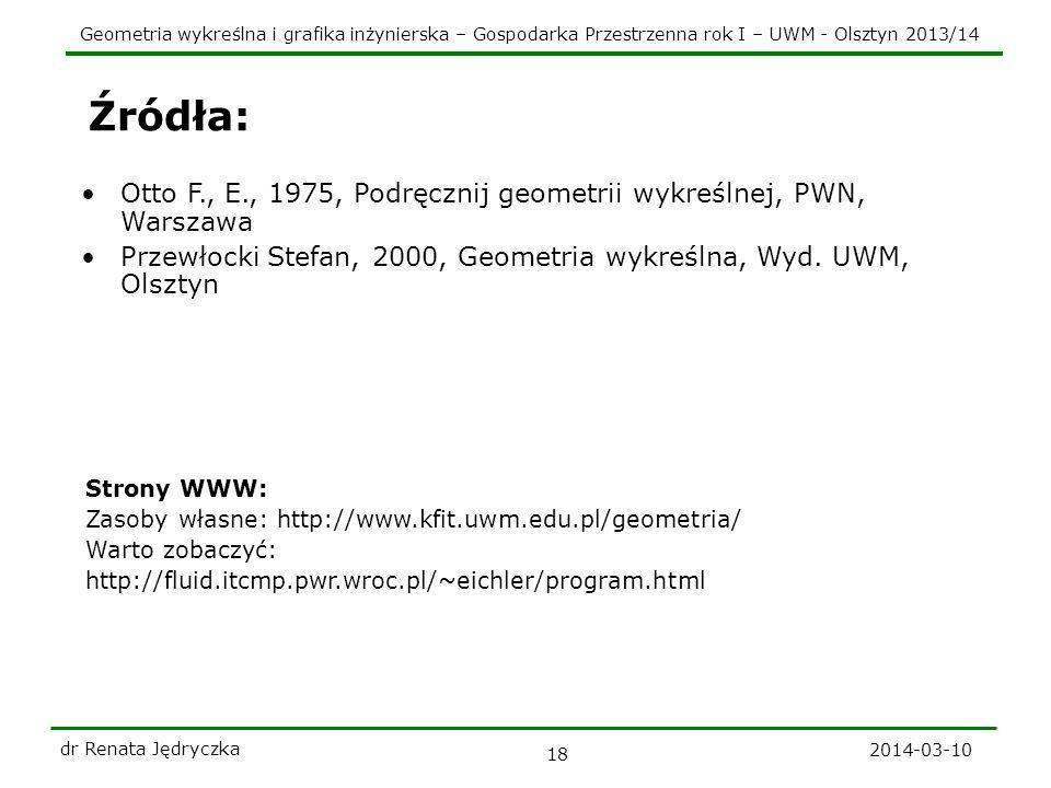 Źródła: Otto F., E., 1975, Podręcznij geometrii wykreślnej, PWN, Warszawa. Przewłocki Stefan, 2000, Geometria wykreślna, Wyd. UWM, Olsztyn.
