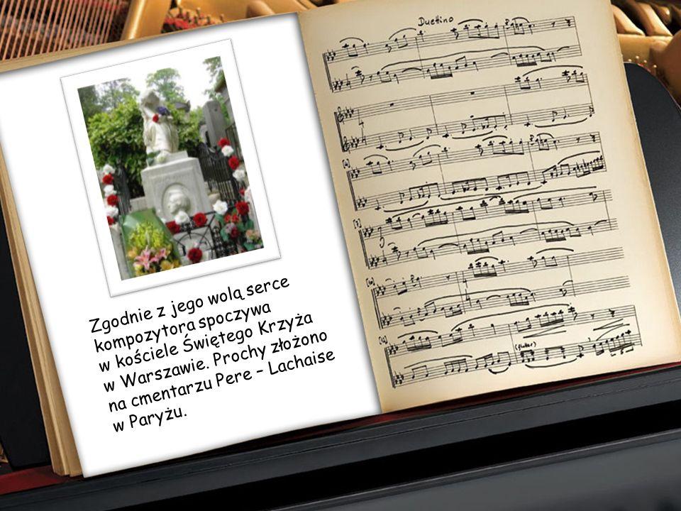 Zgodnie z jego wolą serce kompozytora spoczywa w kościele Świętego Krzyża w Warszawie.