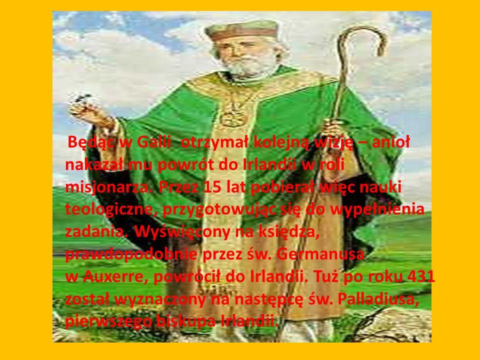 Będąc w Galii otrzymał kolejną wizję – anioł nakazał mu powrót do Irlandii w roli misjonarza. Przez 15 lat pobierał więc nauki teologiczne, przygotowując się do wypełnienia zadania. Wyświęcony na księdza, prawdopodobnie przez św. Germanusa