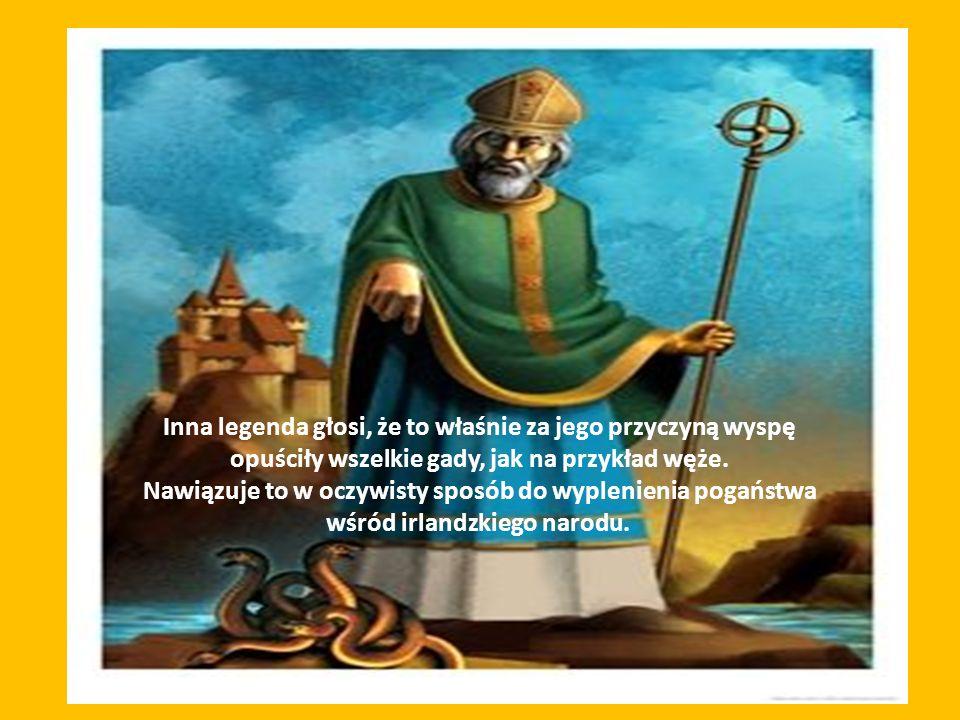 Inna legenda głosi, że to właśnie za jego przyczyną wyspę opuściły wszelkie gady, jak na przykład węże.