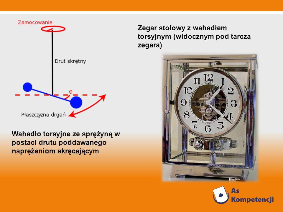 Zegar stołowy z wahadłem torsyjnym (widocznym pod tarczą zegara)