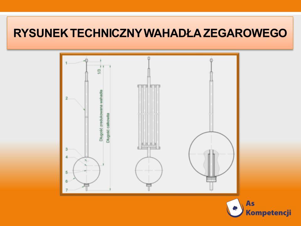 Rysunek techniczny wahadła zegarowego